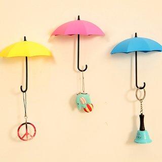BANQLYN 3 Units Fashion Umbrella Self Adhesive Wall Mount Hooks Key Holders Wall Mount Towel Hanger Hooks