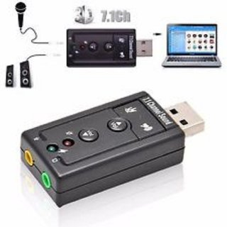 Virtual 7.1 Channel External USB Audio Adapter Sound Card  Black  Adapters   Chargers