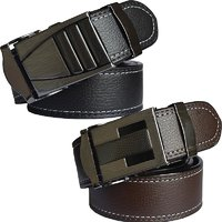 Sunshopping mens black and brown leatherite auto lock buckle belt (pack of two)