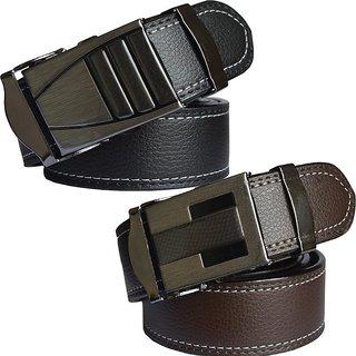 Sunshopping Men Black &  Brown Leatherite Clamp Buckle Belt