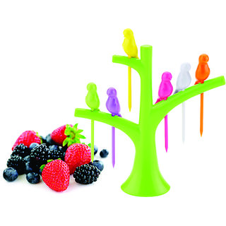 Clickon Bird Fruit Fork With Stand