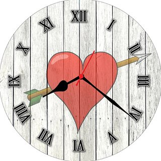 3d white heart1 wall clock