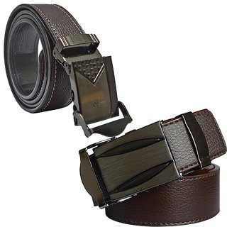 Sunshopping mens brown leatherite auto lock buckle belt (pack of two) (Synthetic leather/Rexine)