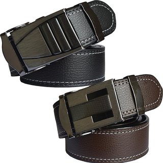 Sunshopping Men Black &  Brown Leatherite Clamp Buckle Belt (Synthetic leather/Rexine)