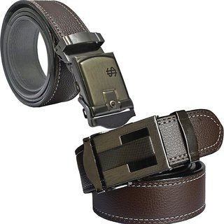 Sunshopping Formal Brown Leatherite Belt With Clamp Buckle For Men - Pack Of 2 (Synthetic leather/Rexine)