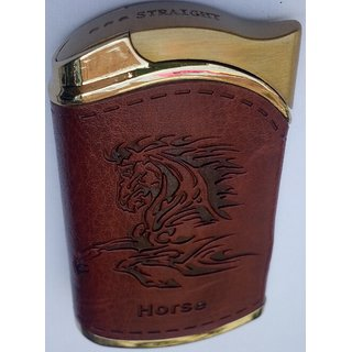 MOCOMO Imported Leather Horse design Windproof Jet Flame Cigarette Lighter