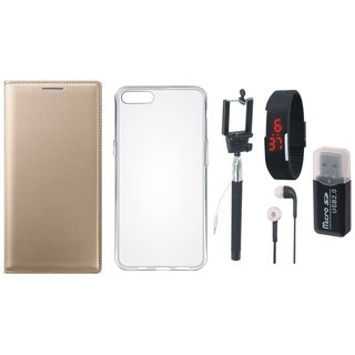 Redmi 4A Leather Cover with Memory Card Reader, Silicon Back Cover, Selfie Stick, Digtal Watch and Earphones