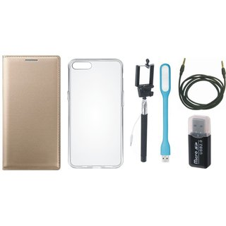 Vivo V7 Luxury Cover with Memory Card Reader, Silicon Back Cover, Selfie Stick, USB LED Light and AUX Cable