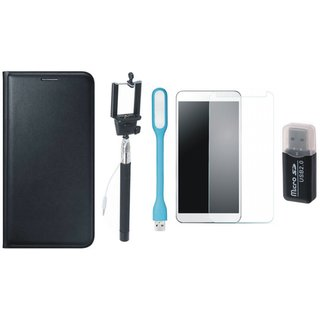 Samsung J7 Prime ( SM G610F ) Cover with Memory Card Reader, Free Selfie Stick, Tempered Glass, and LED Light