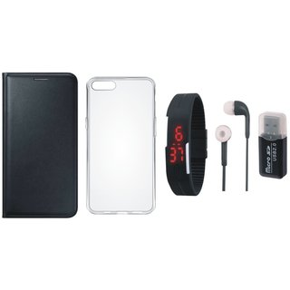 Samsung J7 2016 Version ( SM J710-F ) Flip Cover with Memory Card Reader, Silicon Back Cover, Digital Watch and Earphones