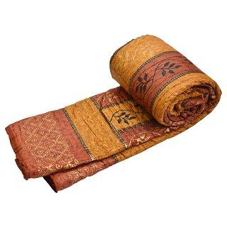 shoppingtara Double Bed Premium Jaipuri Razai GoldPrint Rajasthani Quilt Winter Rajai Blanket