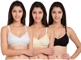 Pack Of 3 Aanand Multicolor Cotton Lycra Cupless Bra
