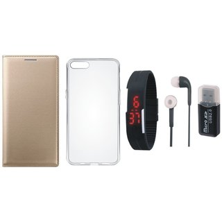 Oppo A71 Leather Cover with Memory Card Reader, Silicon Back Cover, Digital Watch and Earphones