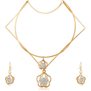 JewelMaze Zinc Alloy Gold Plated Austrian Stone Necklace Set -1110405A