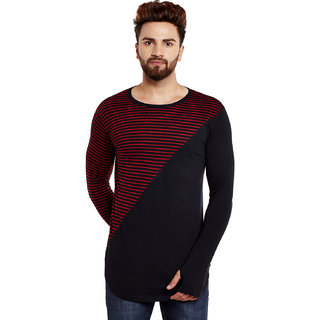 Hypernation Striped Men Round Neck Red, Black T-Shirt
