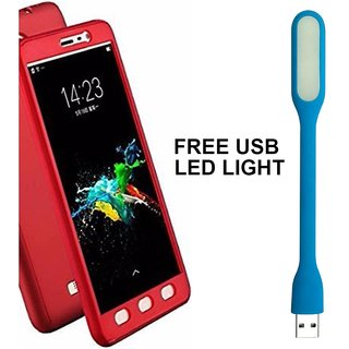 BRAND FUSON 360 Degree Full Body Protection Front Back Case Cover (iPaky Style) with Tempered Glass for Oppo A57 ( Red) + USB LED Light