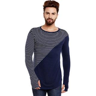 Hypernation Striped Men Round Neck Blue, White T-Shirt