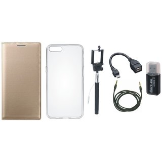 Redmi 3s Leather Flip Cover with with Memory Card Reader, Silicon Back Cover, Selfie Stick, OTG Cable and AUX Cable