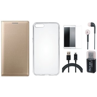 Moto E4 Plus Leather Cover with Memory Card Reader, Silicon Back Cover, Earphones, Tempered Glass and USB Cable