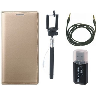 Lenovo K5 Leather Cover with Memory Card Reader, Selfie Stick and AUX Cable