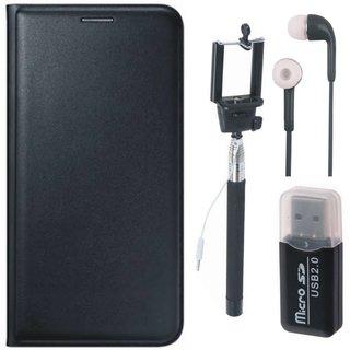 Lenovo K5 Flip Cover with Memory Card Reader, Selfie Stick and Earphones