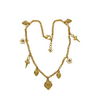 Mahi Gold Plated Flower Strawberry and Dancing Angel Charming Anklet for women PL1100126G