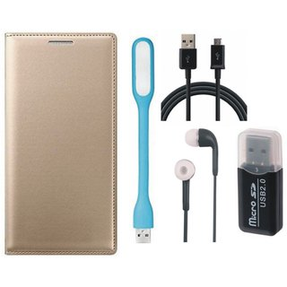 Lenovo K5 Premium Leather Cover with Memory Card Reader, Earphones, USB LED Light and USB Cable