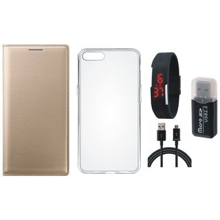 Lenovo K5 Premium Leather Cover with Memory Card Reader, Silicon Back Cover, Digital Watch and USB Cable