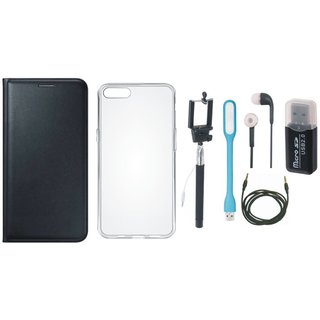 Redmi 3s Flip Cover with Memory Card Reader, Silicon Back Cover, Selfie Stick, Earphones, USB LED Light and AUX Cable