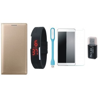 Lenovo K5 Premium Leather Cover with Memory Card Reader, Free Digital LED Watch, Tempered Glass and LED Light