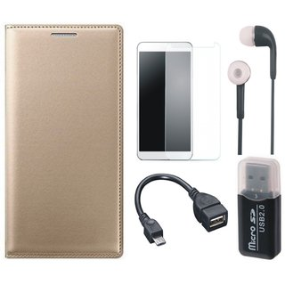 Redmi 3s Premium Leather Cover with Memory Card Reader, Tempered Glass, Earphones and OTG Cable
