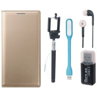 Redmi 3s Premium Leather Cover with Memory Card Reader, Selfie Stick, Earphones and USB LED Light