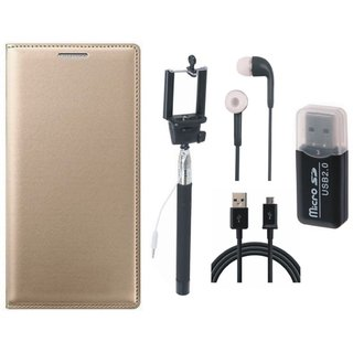 Redmi 3s Premium Leather Cover with Memory Card Reader, Selfie Stick, Earphones and USB Cable