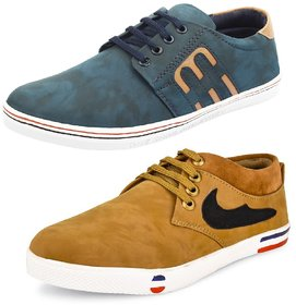 Shoe Daisy Men's Pack Of 2 Tan Blue Lace-Up Sneaker