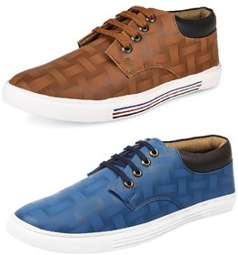 Shoe Daisy Men's Pack Of 2 Tan Brown Lace-Up Sneaker