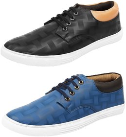 Shoe Daisy Men's Pack Of 2 Blue Black Lace-Up Sneaker