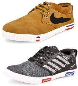 Shoe Daisy Men's Pack Of 2 Tan Grey Lace-Up Sneaker