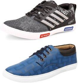 Shoe Daisy Men's Pack Of 2 Blue Grey Lace-Up Sneaker