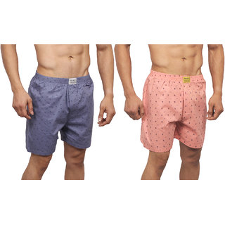 Neska Moda Men Premium Pack Of 2 Elasticated Cotton Pink and Grey Boxers With 1 Back Pocket XB125andXB129