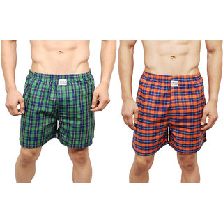 Neska Moda Men Premium Pack Of 2 Elasticated Cotton Multicolor Boxers With 1 Back Pocket XB72andXB76