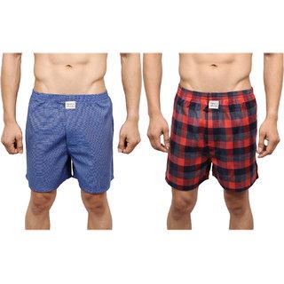Neska Moda Men Premium Pack Of 2 Elasticated Cotton Multicolor Boxers With 1 Back Pocket XB28andXB32