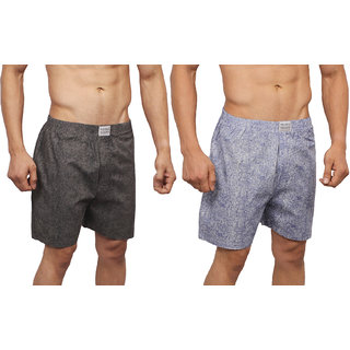Neska Moda Men Premium Pack Of 2 Elasticated Cotton Grey and Black Boxers With 1 Back Pocket XB135andXB139
