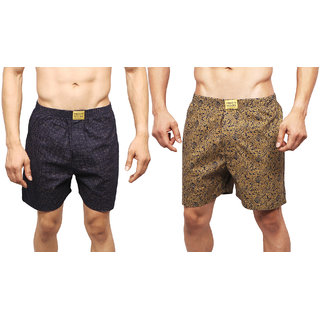 Neska Moda Men Premium Pack Of 2 Elasticated Cotton Gold and Dark Blue Boxers With 1 Back Pocket XB90andXB94