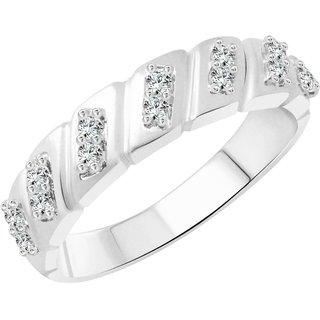 Vighnaharta Cross Line Band CZ Rhodium Plated Alloy Gents Ring for Men & Boys