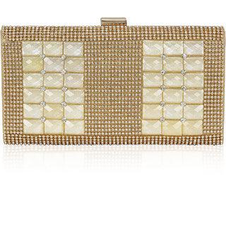 Kleio Designer Elegant Stone Studd Party Box Clutch for Women (Gold)