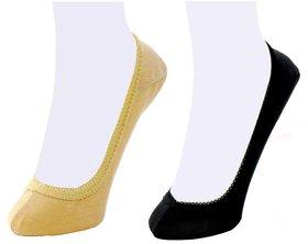 Neska Moda 2 Pair Women Black and Skin Plain Cotton No Show Belly Socks