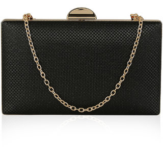 Kleio Designer Party Box Clutch with Sling for Women / Girls ( Black )