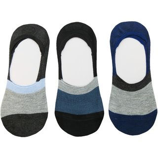 Neska Moda Premium 3 Pair Unisex Cotton No Show Loafer Socks Equipped With Silicon Gel For Grip blue Black Grey S511