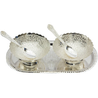 Indian Handicrafts Brass Decorative Silver Bowls, Tray  Spoons  Set Of 5 Items