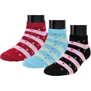 Neska Moda Women 3 Pairs Cotton Ankle Length Socks Blue Red S788